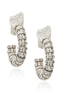 Rhinestone Hoop Alloy Earrings E3443 - Silver