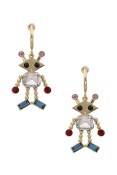 Rhinestone Alien Earrings E3464