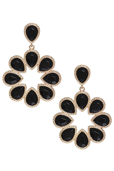 Rhinestone Hollow Floral Earrings E3467 - Black