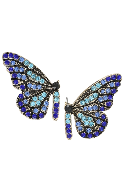Rhinestone Butterfly Stud Earrings E3482