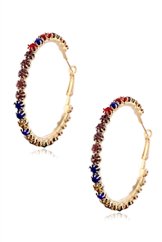 Hollow Rhinestone Hoop Earrings E3492