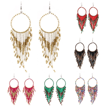Hollow Circle Tassel Earrings E3493