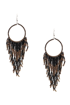 Hollow Circle Tassel Earrings E3493 - Black