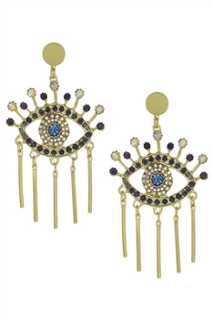 Against Evil Eye Tassel Earrings E3495 - Gold
