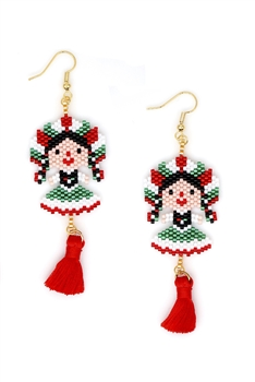 Frida Seed Beads Tassel Earrings E3498