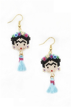 Frida Seed Beads Tassel Earrings E3499 - Blue