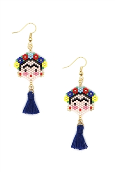 Frida Seed Beads Tassel Earrings E3499 - Navy Blue