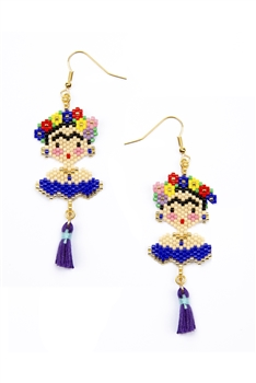 Frida Seed Beads Tassel Earrings E3500 - Blue