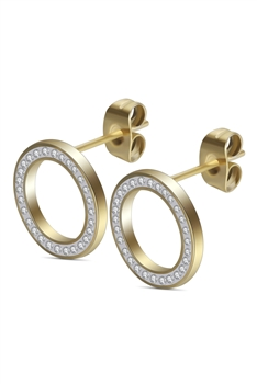 Hollow Circle Stainless Steel Stud Earrings E3502 - Gold