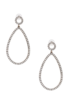 Hollow Teardrop Rhinestone Earrings E3507 - White