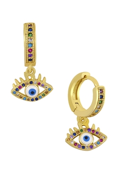 Against Eye Zircon Earrings E3517 - Eye