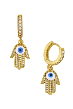 Against Eye Zircon Earrings E3517 - Palm