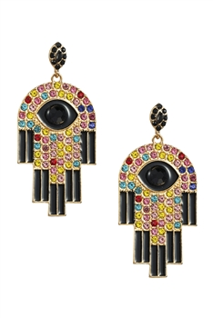 Palm Rhinestone Earrings E3538