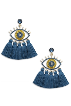 Against Evil Eye Tassel Earrings E3565 - Blue