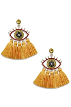 Against Evil Eye Tassel Earrings E3565 - Yellow