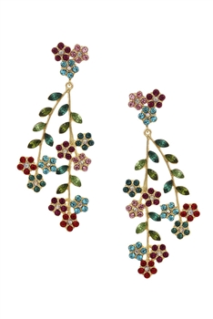 Floral Rhinestone Tassel Earrings E3575 - Multi