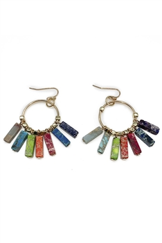 Multi Emperor Stone Tassel Earrings E3583 - Multi