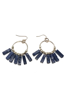 Multi Emperor Stone Tassel Earrings E3583 - Navy