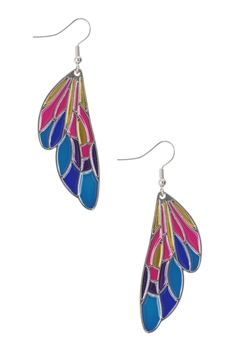 Multicolor Alloy Wings Earrings E3589 - Silver