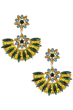 Baroque Sector Rhinestone Earrings E3596
