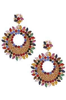 Floral Rhinestone Earrings E3598