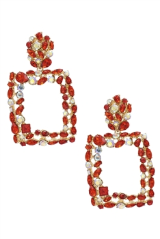 Hollow Square Rhinestone Earrings E3609 - Red