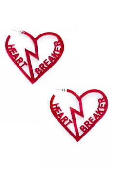Hollow Heart Breaker Hoop Earrings E3642