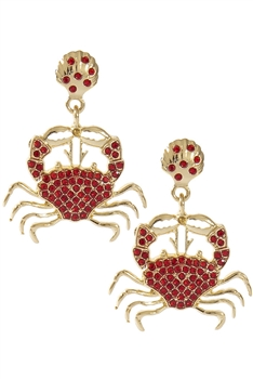 Rhinestone Crab Earrings E3650