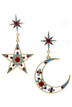 Hollow Rhinestone Star & Moon Earrings E3668