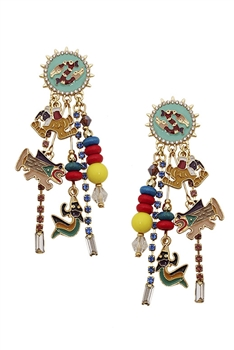 Alloy Sun Chains Tassel Earrings E3676