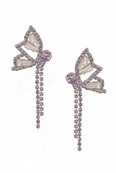 Butterfly Rhinestone Tassel Earrings E3679