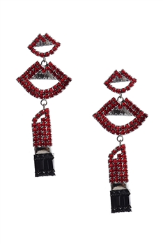 Rhinestone Lipstick Earrings E3684