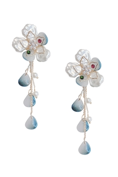 Floral Pearl Tassel Earrings E3693