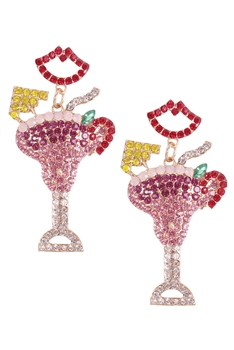 Lip &Cup Rhinestone Earrings E3702