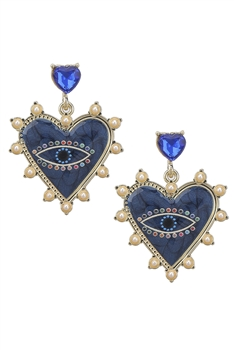 Against Evil Eye Heart Alloy Earrings E3708 - Blue
