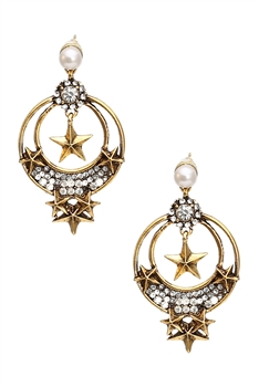 Rhinestone Star Alloy Earrings E3764