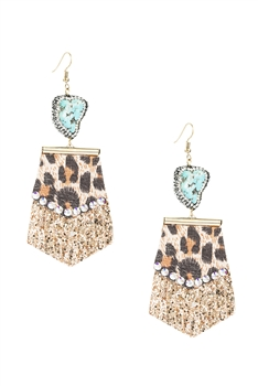 Leopard Leather Tassel Earrings E3815