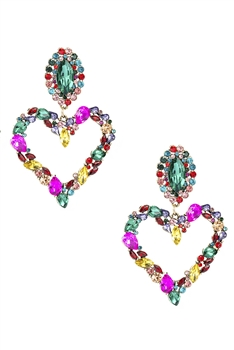 Heart Rhinestone Earrings E3816 - Multi