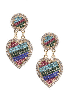 Rhinestone Heart Earrings E3822