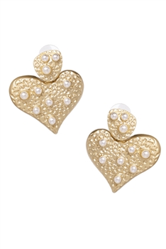 Heart Pearl Alloy Earrings E3828