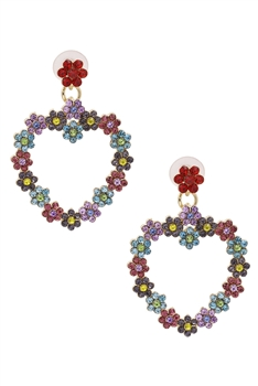 Heart Rhinestone Drop Earrings E3841 - Multi