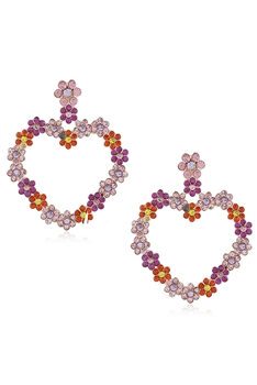 Heart Rhinestone Drop Earrings E3841 - Red