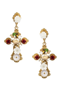 Cross Floral Alloy Earrings E3846