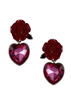 Rose & Heart Crystal Earrings E3854