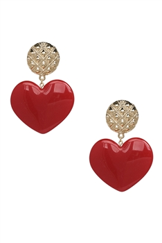 Acrylic Heart Earrings E3855 - Red