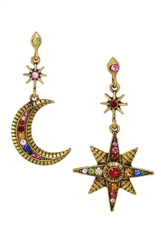 Moon & Sun Rhinestone Earrings E3886 - Gold