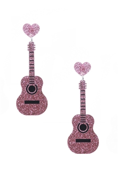 Guitar Heart Rhinestone Earrings E3931