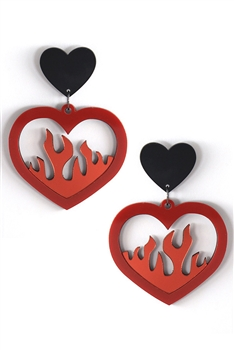 Heart Fire Acrylic Earrings E3932