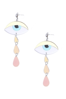 Evil Eye Tear Tassel Earrings E3939