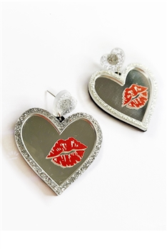 Heart Lip Acrylic Earrings E3946